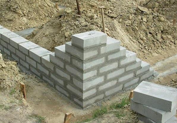 Схема укладання фундаменту з блоків