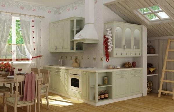 Дизайн інтер'єру кухні в стилі Прованс на фото.